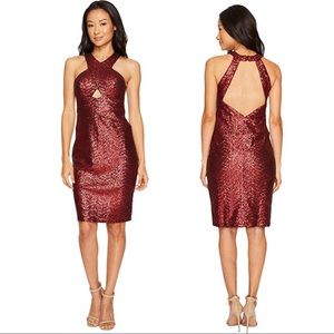 NWT Aidan Mattox Wine Sequin Cocktail Dress